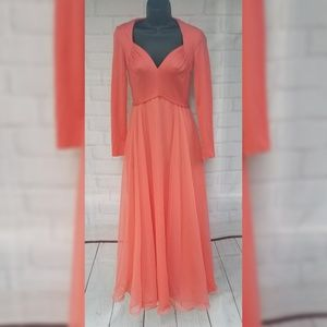 Vintage Miss Elliette  Coral Pink Maxi Dress